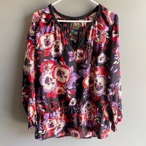 Johnny Was Silk Black Floral Peplum Blouse
